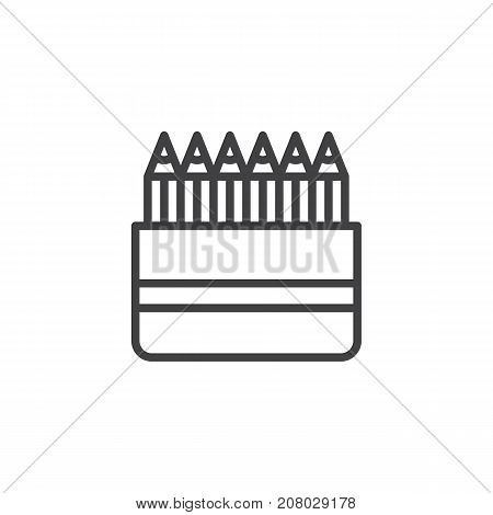Colored pencils line icon, outline vector sign, linear style pictogram isolated on white. Crayons symbol, logo illustration. Editable stroke
