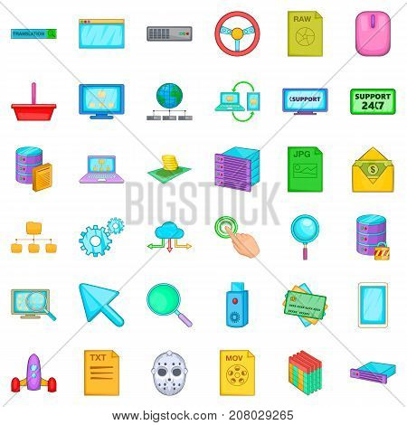 Hacker icons set. Cartoon style of 36 hacker vector icons for web isolated on white background