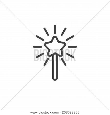 Magic wand line icon, outline vector sign, linear style pictogram isolated on white. Symbol, logo illustration. Editable stroke