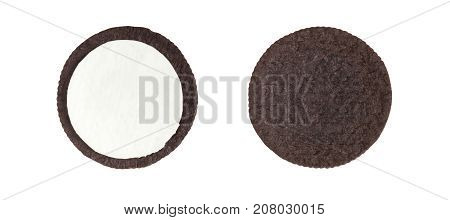 Cookies and cream close-up shot of inner side of milk cream filling and crusts (no trademark or brand) isolated on white background (Clipping path included)