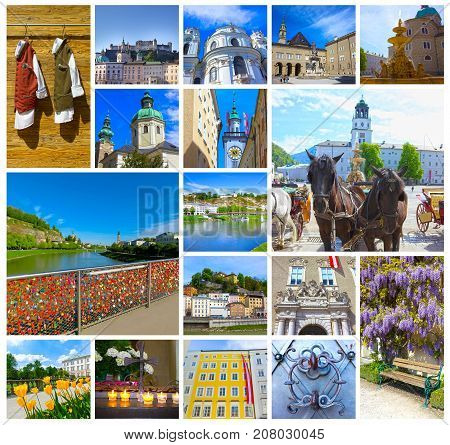 The collage of Salzburg with river Salzach, Salzburger Land, Austria