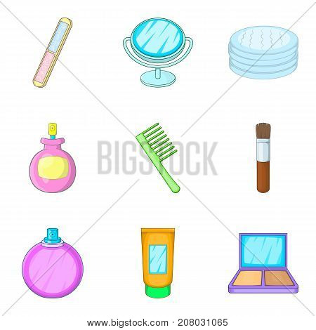 Makeup technique icons set. Cartoon set of 9 makeup technique vector icons for web isolated on white background
