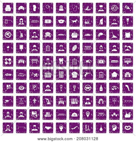 100 favorite work icons set in grunge style purple color isolated on white background vector illustration