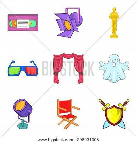 Cinema technology icons set. Cartoon set of 9 cinema technology vector icons for web isolated on white background