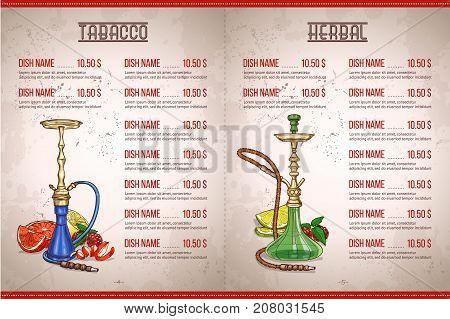 Vector color menu design internal page hookah bar herbal