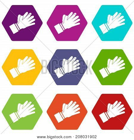 Clapping applauding hands icon set many color hexahedron isolated on white vector illustration