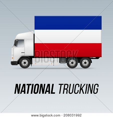 Symbol of National Delivery Truck with Flag of Yugoslavia. National Trucking Icon and Yugoslavian flag