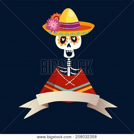 Dia de Los Muertos greeting card, invitation. Mexican Day of the Dead. Skeleton in poncho and with sombrero hat. Ornamental skull, hand drawn vector illustration, background.