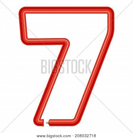 Number seven plastic tube icon. Cartoon illustration of number seven plastic tube vector icon for web