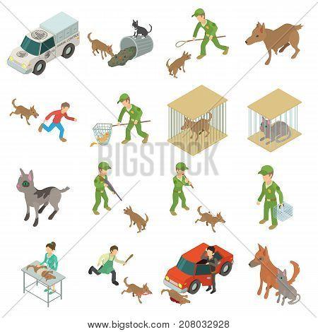 Stray animals icons set. Isometric illustration of 16 stray animals vector icons for web