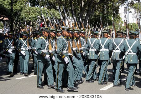Sucre, Capital of Bolivia, Southamerica - August 6, 2016: Military parading through the centre of Sucre, Bolivia to mark the Independence Day