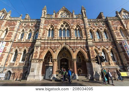 Exeter Devon England 23 October 2016: The building of the Royal Albert memorial museum and the people at the entrance