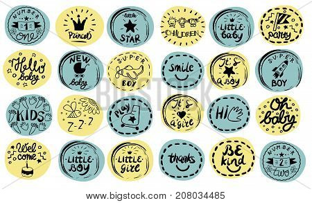 24 children logo with handwriting. Princess. Little star. Sweet baby. Hello. Kids background Poster Emblem