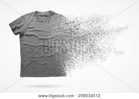 3d illustration of grey shirt isolated on white background