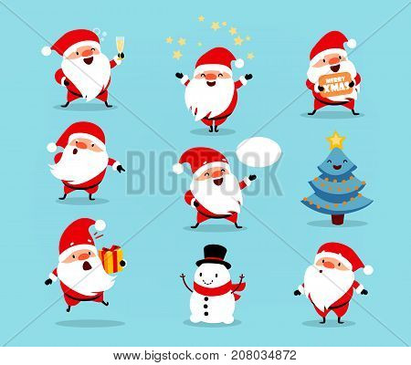Collection of Christmas Santa Claus. Set of funny cartoon characters with different emotions and New Year's objects. Vector illustration isolated on light blue background