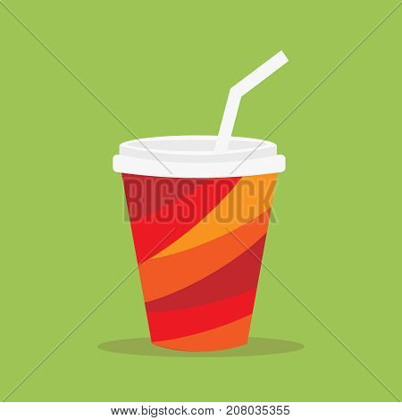 Paper cup icon. Paper red cups with straws for soda or cold beverage. Vector illustration flat design. Isolated cup with long shadow. Drink icon. Fast food.
