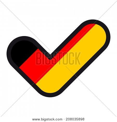 Flag of Germany in the shape of check mark, sign approval, symbol of elections, voting.