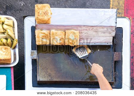 Top View Of A Hand Cooking Vegetables Martabak Jawa In Kota Kinabalu City Open Market In Sabah Borne