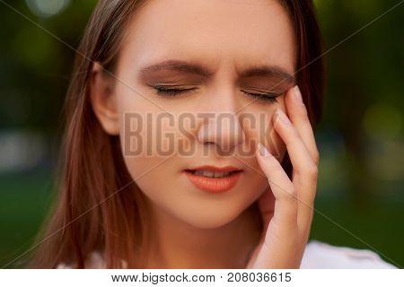 Women's stupid mistake. Regret guilt forget headache hangover concept