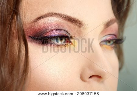 Eye makeup close-up. Bright professional makeup. Presentation of cosmetic products, eye shadow, mascara and eyebrows.