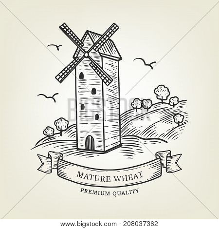 Vector rura landscape with windmill and wheat field. Illustration done in graphic style, isolated on background. Outline mill use as label, logo, sticker, emblem for bakery, countryside products.