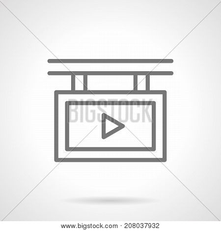 Abstract symbol of screen with promo video clip. Elements of outdoor advertising for city. Gray simple line design vector icon.