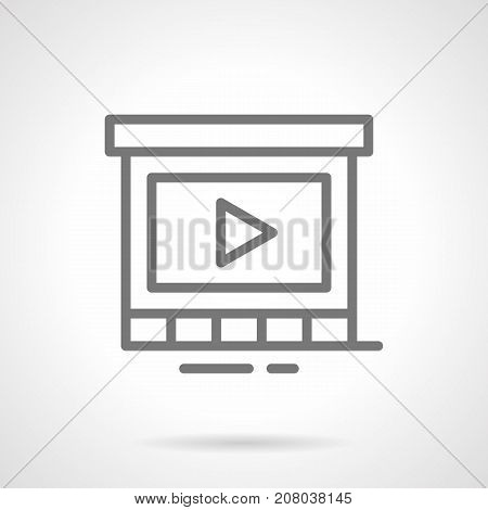 Abstract symbol of display for promotional video. Elements of outdoor advertising for city. Gray simple line design vector icon.