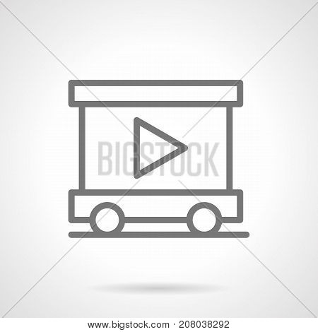 Abstract symbol of trailer with video advert on canvas. Elements of outdoor advertising for city. Gray simple line design vector icon.