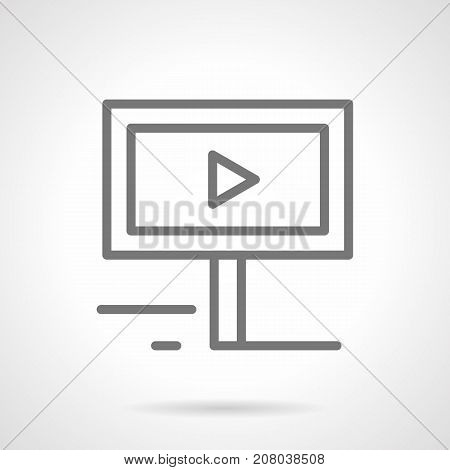 Abstract symbol of board with video advert. Elements of outdoor advertising for city. Gray simple line design vector icon.