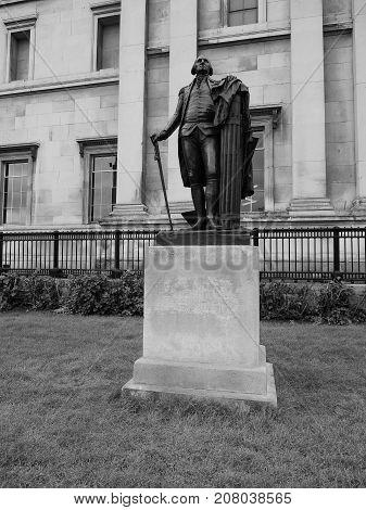 Washington Statue In London Black And White