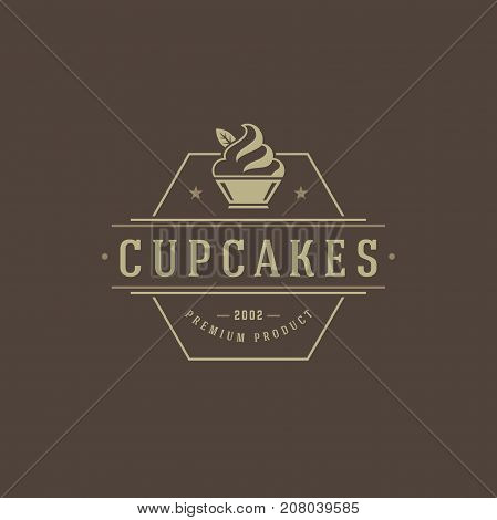 Bakery Shop Logo Template. Vector object and Icons for Pastry Food Label or Badge, Bakery Food Logotype Design, Emblems Graphics. Cupcakes Silhouette, Cafe Logo.
