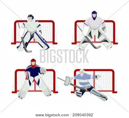 Hockey players set on white background. Goal minders.