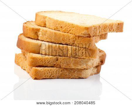 slices of white bread on white background