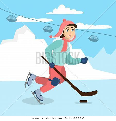 Girl playing hockey and ice skating. Young smiling woman doing sport.