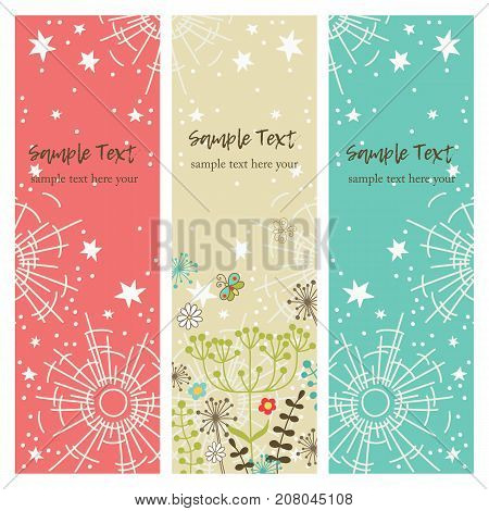 vector set of vertical banners with stars, flowers and sun. Hand drawn. Vector design.