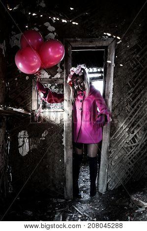 Zombie Girl In A Pretty Pink Coat