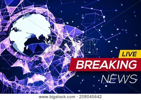Breaking News Banner on Blue Glowing Plexus Structure Background with Earth Planet, Flares, Sparkles, Particles. World News on Abstract Geometric Network with Triangles. Technology Vector Illustration