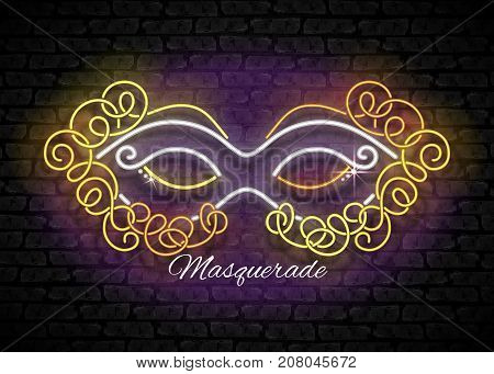 Mardi Gras Masquerade Mask. Shiny Neon Lamps Glow Stylization on Black Brick Wall. Venetian Carnival Playbill Night Club Invitation. Beautiful Holiday Flyer. Vector 3d Illustration. Abstract Art