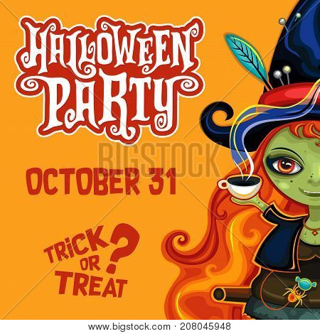 Vector halloween party invitation poster banner with spooky lettering greetings label - Happy Halloween. Young witch flying in hat, on broomstick, drinking hot tea with candies, friendly cute spider.