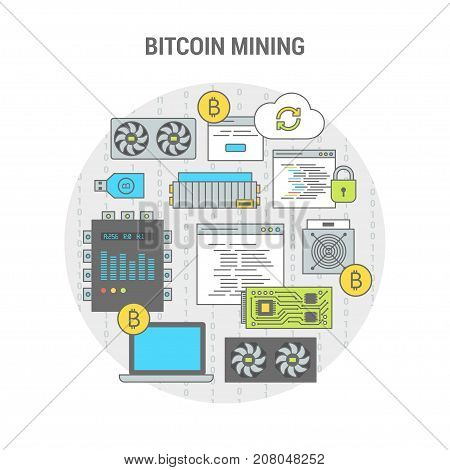 Concept banner scheme bitcoin mining flat line art design in circle. Set icons equipment for mining of crypto currency. Vector illustration for web site, application and print