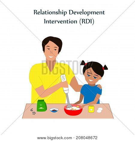 Little girl and a his father baking cookies. Relationship Development Intervention or RDI technique vector. RDI is the successful method used for teaching kids with ASD or autism. Vector illustration