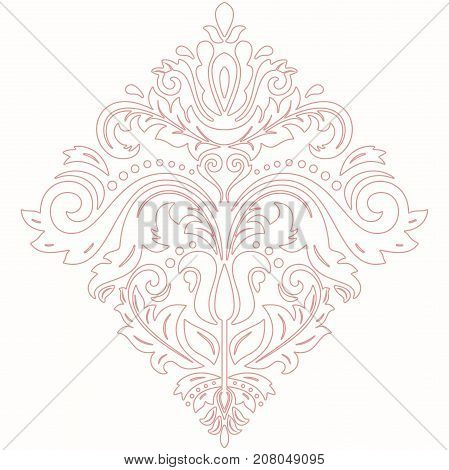 Elegant pink ornament in classic style. Abstract traditional pattern with oriental elements, Classic vintage pattern