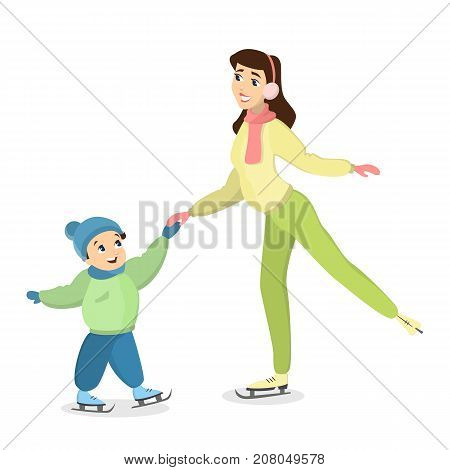 Family ice skating. Mother teaches son how to ice skate.