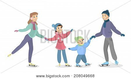 Family ice skating. Happy parents with children have fun on ice.