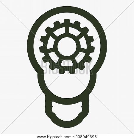 Bulb with gears and cogs vector icon. Idea symbol. Light lamp sign.
