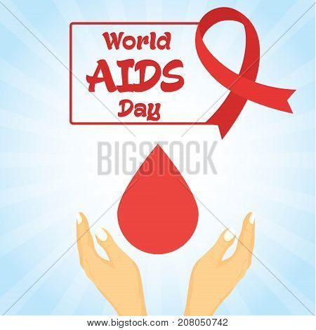 World AIDS Day, 1 December. Red ribbon and blood drop conceptual illustration vector.