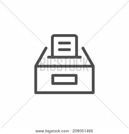 Ballot box line icon isolated on white. Vector illustration