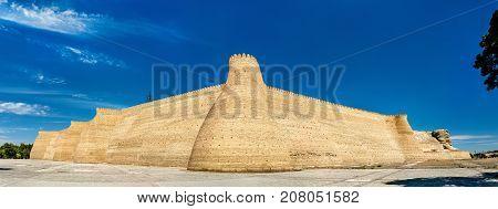 View of the Ark fortress in Bukhara. UNESCO heritage site in Uzbekistan