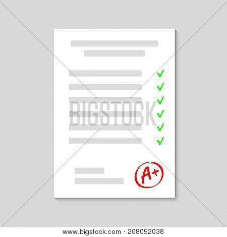 Exam. Examination sheet. Grade result A . Hand drawn vector grade with plus in circle frame. Vector illustration