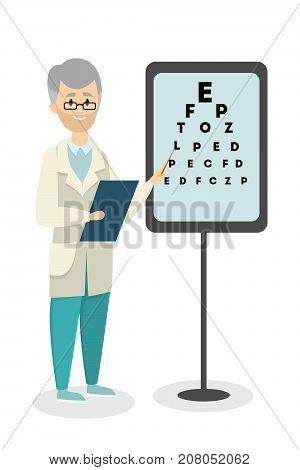 Ophtalmologist with medical test for eyesight. Senior man standing on white.